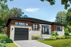 Contemporary House Plan with Office - Cottage Style House Plans, Modern House Plans, Small House Plans, Vestibule, Small Dream Homes, Drummond House Plans, Small Modern Home, Surface Habitable, Lake Cottage
