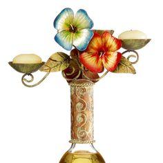 DecoFLAIR CAPIZ SHELL CANDLELABRA - TROPICAL FLOWERS DFA2219