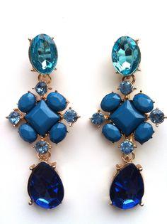 Ocean Drop Crystal Statement Earrings