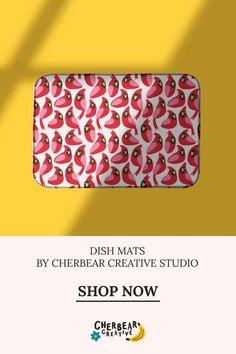 Cardinal Birds Dish Mat by Cherbear Creative Studio Bandana Bow, Etsy Business, Keep An Eye On, Marketing, Creative Studio, Lifestyle Blog, Fabric Design, Cardinal Birds, Dishes