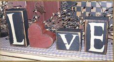 VALENTINE LOVE BLOCKS w/heart primitive block by Heresyoursignprim, $19.99