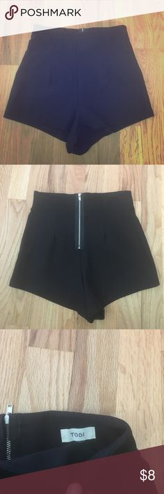 Tobi high waisted black shorts These shorts are super cute high waisted booty shorts. Only worn twice and got s lot of compliments! 74% rayon, 22% nylon, 4% spandex Tobi Shorts