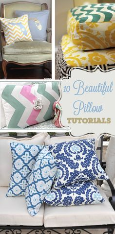 10 Beautiful DIY Pillow Tutorials - Could use some of the techniques