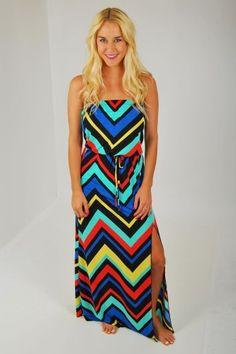 Chevron Slit Maxi Dress