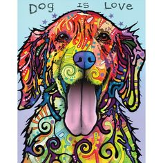 """Man's best friend, loyal to the end. Dog is Love by NY pop artist Dean Russo is now a charming splash art wall decal! This golden retriever animal art decal pictures a classic, beautiful, floppy eared golden above the words, """"Dog is Love,"""" patiently awaiting his master's next command. A splash of multi colors and designs can be seen throughout this captivating puppy pop art poster making it ideal for any animal lover or veterinarian. Dog is Love is available in 4 sizes: S-11..."""