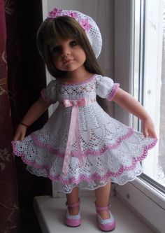 Girls Dresses Sewing, Dresses Kids Girl, Crochet Barbie Clothes, Girl Doll Clothes, American Doll Clothes, Doll Dress Patterns, Baby Girl Crochet, Dolls, Baby Girl Clothing