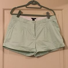 "H&M Mint Green Cuffed Shorts, 12 NWOT NWOT H&M mint green cuffed shorts, size 12. They have never been worn and are missing the original price tags. They measure 12"" length, 3"" inseam, and 10"" rise. H&M Shorts"