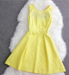 Fashion Cute Chiffon Sleeveless Dress Hook Flower--Yellow