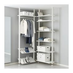 Add more storage space with ELVARLI Shelf unit, white. ELVARLI storage system adapts to your space. The open solution with durable bamboo shelves creates an attractive display of your belongings. Ikea Algot, Elvarli Ikea, Ikea Bedroom, Closet Bedroom, Ideas Armario, Armoire Ikea, Bamboo Shelf, Open Wardrobe, Plastic Shelves