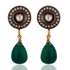 Green onyx drop earrings crystal earrings 925 by almascollection, $45.00