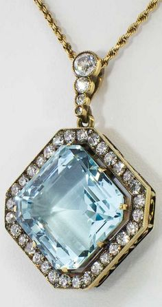 *Amazing 23.87ct t.w. Aquamarine & Old European Cut Russian Pendant 14k/10k, This 14k yellow gold, natural aquamarine beryl, and diamond pendant, is of Russian origin and hails from the early 20th century.