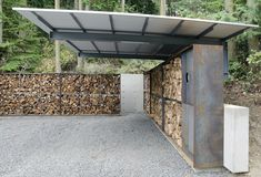 anthony pellecchia utilizes steel, concrete, & wood in villa lucy carport