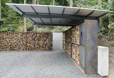 anthony pellecchia utilizes steel, concrete, & wood in villa lucy carport