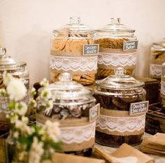 Cookie bar instead of a candy bar...love the lace idea around all the jars...might be nice inspiration for centerpieces too! #burlap #lace #jars #cookie #cookiebar #dessertbar #Wedding #Unique #WeddingDesserts #sweets #kidsbday #bridalshower #inspiration