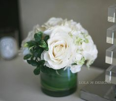 Hydrangea & rose white flower arrangement  -  silk flower, floral arrangement. $170.00, via Etsy.