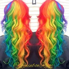 month in hair colors! Super pretty long curly bright (almost neon) rainbow hair color! I think I'm in love!Super pretty long curly bright (almost neon) rainbow hair color! I think I'm in love! Hair Dye Colors, Cool Hair Color, Pelo Multicolor, Neon Hair, Coloured Hair, Unicorn Hair, Grunge Hair, Dream Hair, Crazy Hair