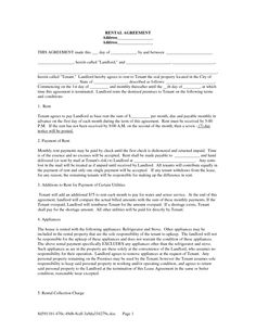 simple rental agreement form