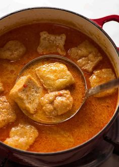 Laksa Soup Broth with Tofu Puffs Chicken And Sweetcorn Soup, Tofu Soup, Chicken Soup Recipes, Recipes With Tofu Puffs, Asian Tofu Recipes, Laksa Soup, Soup Broth, Laksa Recipe, Recipetin Eats