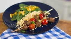 Beef and Cherry Tomato Kebabs TxM How To Slim Down, Cherry Tomatoes, Baked Potato, Risotto, Potatoes, Beef, Kebabs, Baking, Ethnic Recipes