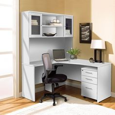 Jesper Office Corner L Shaped Desk with Hutch and Mobile Pedestal
