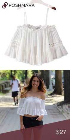 Off the Shoulder Summer Crop Top in White Worn once. Like new. Goodnight Macaroon Tops Crop Tops