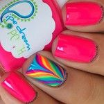 Rainbow Water Marble Accent Nail with Basic Hot Pink Nails Rainbow Nails, Neon Nails, Love Nails, Diy Nails, How To Do Nails, Nail Nail, Fabulous Nails, Gorgeous Nails, Pretty Nails