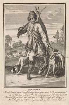 Caspar Luyken   November, Caspar Luyken, 1698 - 1702   De maand november. Op voorgrond een jager die terugkomt van de jacht. Hij voert drie honden mee en draagt zijn jachtbuit op zijn lichaam. Op de achtergrond een zwijnenjacht en een vogeljacht. De prent heeft een Duits onderschrift van vier regels over de maand november.