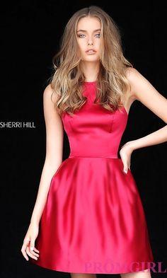 15d71f4c4f8 High-Neck Halter Sherri Hill Satin Homecoming Dress