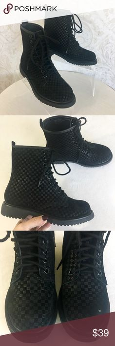"Shellys London checkerboard suede combat boots 🔥HOT🔥 Black suede heat-stamped in an amazing checkerboard pattern. Classic combat boot styling. Nine-hole lace-up with black laces. One inch heel, rubber lug sole. Shaft height about 6"". NWT in original box with one small manufacturing defect, a small white spot on left boot toe (see pics #3 & 4). If I were keeping these, I'd touch up that spot with a fine-tip black Sharpie! Shellys London Shoes Combat & Moto Boots"