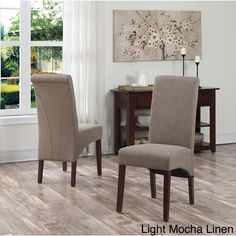 Wyndenhall Franklin Parson Chairs (Set of 2) (Light Mocha Linen), Brown (Faux Leather)