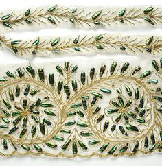 Antique/vintage beetle wing and gold metallic thread embroidery on eBay.