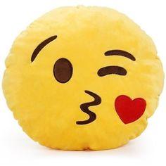Round Oi Emoji Smiley Emoticon Cushion Pillow Stuffed Plush Toy Doll Yellow(sweet Kiss+free Kiss Key Chain)