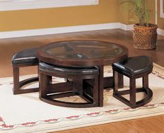 Homelegance Brussel Round Cocktail Table with 4 Ottomans  Price: $499.00