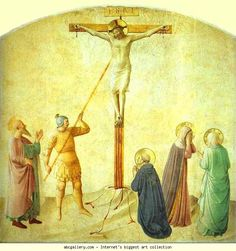 Fra Angelico. St. Dominic with the Crucifix - Piercing of the Christ's Side. c.1450. Fresco, 233 x 183. Museo di San Marco, Cell 42, Florence, Italy