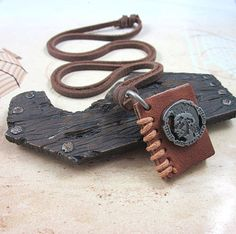 Brown leather made of Necklace Fashion leather by HandmadeTribe, $7.99 Fashion handmade charm necklace