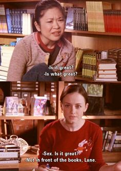 Gilmore Girls - Rory and Lane's first sex discussion Gilmore Girls Lane, Gilmore Girls Quotes, Lorelai Gilmore, Team Logan, Glimore Girls, Movies And Series, Tv Series, Movie Quotes, Literary Quotes