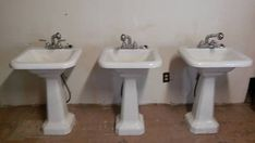 Charming Set of 3 Cast Iron Pedestal Sinks circa by Almasfarmhouse