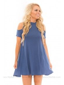 Here to Stay Cold Shoulder Tunic Dress