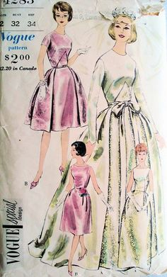 1960s WEDDING or BRIDESMAID GOWNS PATTERN VOGUE SPECIAL DESIGN 4285