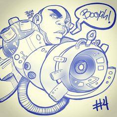 #4 Booya!  #inktober #halloween #drawlloween #inking #sketch #teentitans #cyborg #justiceleague #android #booya #jessaotero #thegreysanctuary