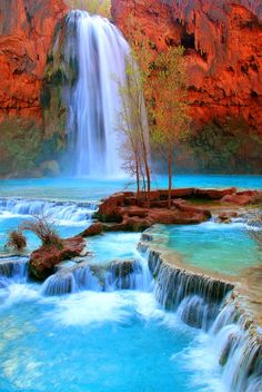 Havasu Falls, Arizona On my bucket list of places to go Beautiful Waterfalls, Beautiful Landscapes, Dream Vacations, Vacation Spots, The Places Youll Go, Places To See, Beautiful World, Beautiful Places, National Parks
