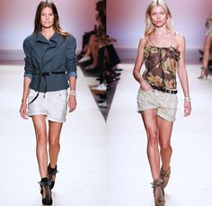 Isabel Marant 2014 Spring Summer Womens Runway Collection - Paris Fashion Week - Mode à Paris - Denim Jeans Cutoffs Shorts Patchwork Sheer C...