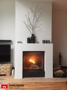Beautiful # fireplace # with # a # Calfire # # harlequin stove # wood stove Family Room Fireplace, Home Fireplace, Fireplace Remodel, Brick Fireplace, Fireplace Surrounds, Fireplace Design, Fireplace Mantels, Fireplaces, Minimalist Fireplace