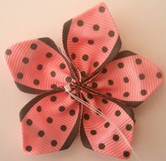 Ribbon Flowers by MakeBowsandMore.com: How to make a 5 Petal Ribbon Flower
