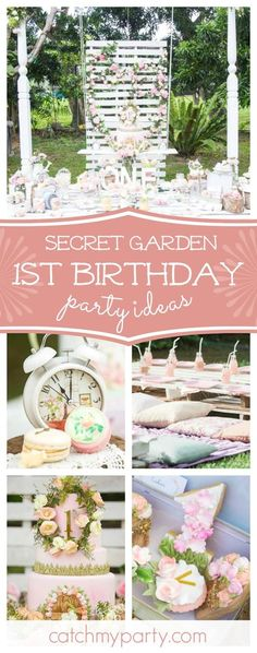 Step into this gorgeous Secret Garden 1st birthday party. The birthday cake is amazing!! See more party ideas and share yours at CatchMyParty.com