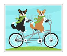 305D Bicycle Art Prints  Two Corgi Dogs on Tandem Bicycle