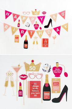 50th Birthday Party Decorations, 50th Photo Booth Props, 50th Favour Tags, 1966 -  50th Party Printable, Red, Coral, Gold | INSTANT DOWNLOAD