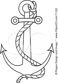 Royalty-Free (RF) Clipart Illustration of a Black Outline Of A Nautical Anchor With A Rope by Rogue Design and Image