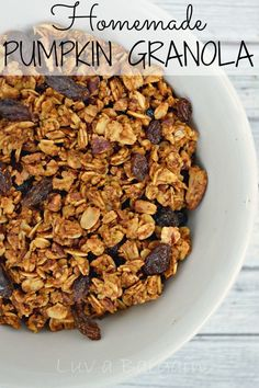This Homemade Pumpkin Granola Recipe is the new favorite in our house.  Loved as a snack, added to yogurt and as a cereal. The flavor is wonderful!