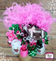 Love the Game, football hair bow, I love football, girly football hair bow, ott hair bow, over the top hairbow, funky loopy hair bow, flb by bellacreations123 on Etsy https://www.etsy.com/listing/245756169/love-the-game-football-hair-bow-i-love